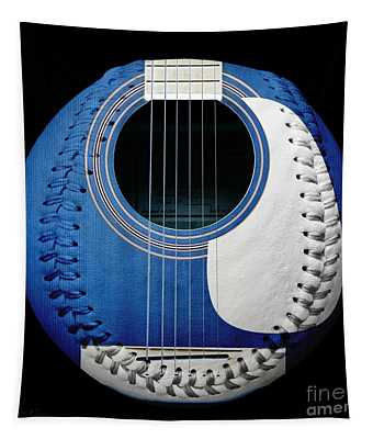 Blue Guitar Baseball White Laces Square Tapestry