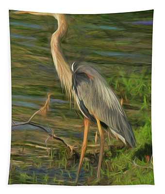 Blue Heron On The Bank Tapestry