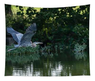 Blue Heron Take-off Tapestry