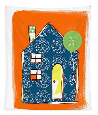 Blue House Get Well Card Tapestry
