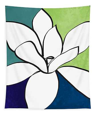 Blue Magnolia 1- Floral Art Tapestry