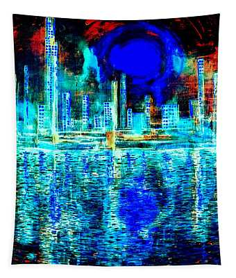 Blue Moon In A Midnight Sky Tapestry