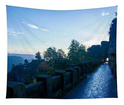 Blue Morning On The Bastei Tapestry
