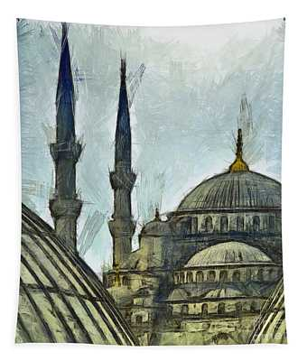 Blue Mosque Drawing Tapestry
