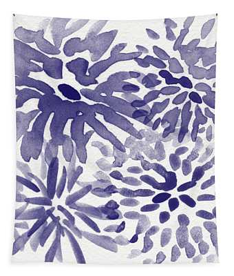 Blue Mums- Watercolor Floral Art Tapestry