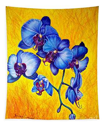 Blue Orchids 1 Tapestry