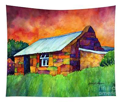 Blue Roof Cottage Tapestry