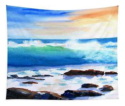 Blue Water Wave Crashing On Rocks Tapestry