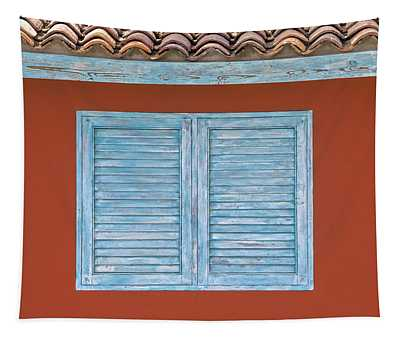 Blue Window Shutter Of Aruba Tapestry
