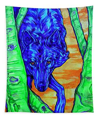Blue Wolf Tapestry