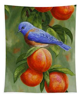 Bluebird And Peaches Greeting Card 2 Tapestry