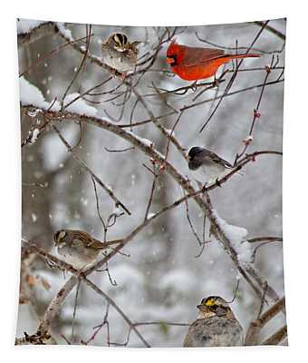 Blushing Red Cardinal In The Snow Tapestry