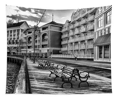 Boardwalk Early Morning In Black And White Walt Disney World Tapestry