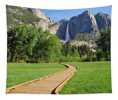 Boardwalk To Yosemite Falls  Tapestry