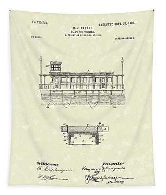 Boat 1903 Patent Art Tapestry