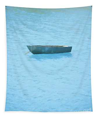 Boat On Blue Lake Tapestry