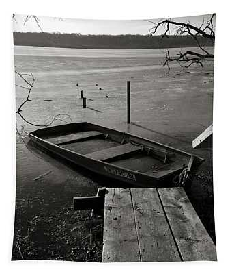 Boat In Ice - Lake Wingra - Madison - Wi Tapestry