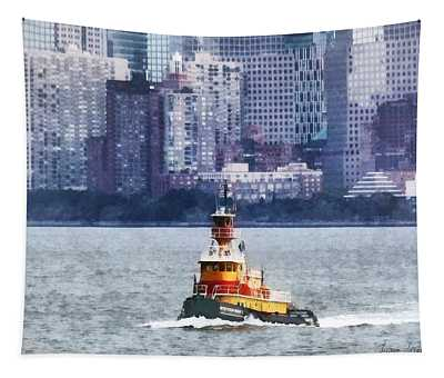 Boat - Tugboat By Manhattan Skyline Tapestry