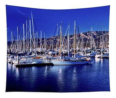 Boats At Harbor, Santa Barbara Tapestry