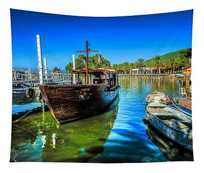 Boats At Kibbutz On Sea Galilee Tapestry
