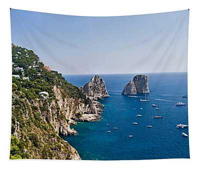 Boats In The Sea, Faraglioni, Capri Tapestry
