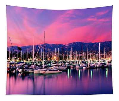 Boats Moored In Harbor At Sunset, Santa Tapestry