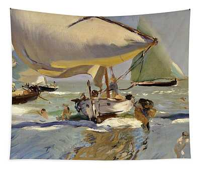 Boats On The Shore Tapestry