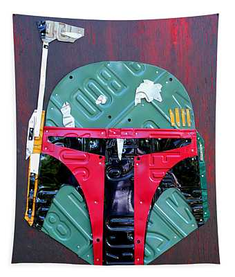 Boba Fett Star Wars Bounty Hunter Helmet Recycled License Plate Art Tapestry