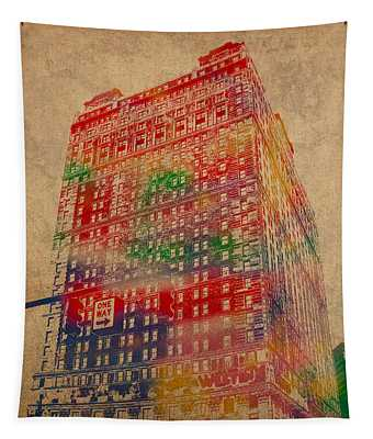 Book Cadillac Iconic Buildings Of Detroit Watercolor On Worn Canvas Series Number 3 Tapestry