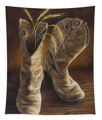 Boots And Wheat Tapestry