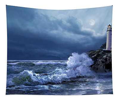 Boston Harbor Lighthouse Moonlight Scene Tapestry