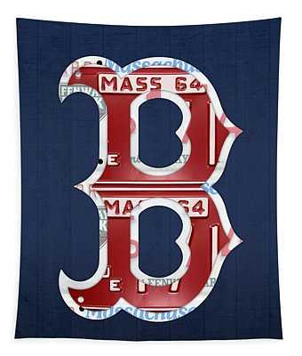 Boston Red Sox Logo Letter B Baseball Team Vintage License Plate Art Tapestry