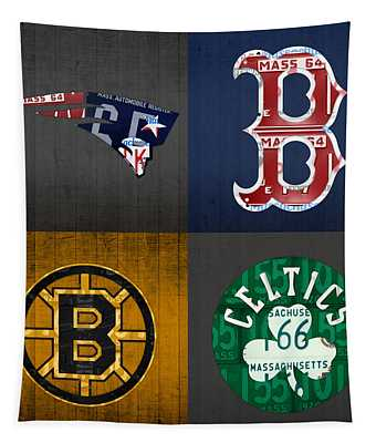 Boston Sports Fan Recycled Vintage Massachusetts License Plate Art Patriots Red Sox Bruins Celtics Tapestry