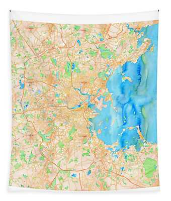 Tapestry featuring the digital art Boston Watercolor Map by Joy McKenzie