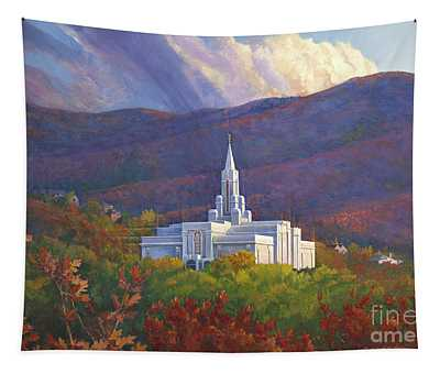 Bountiful Temple In The Mountains Tapestry