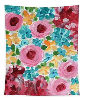 Bouquet- Expressionist Floral Painting Tapestry