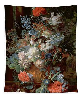 Bouquet Of Flowers In A Landscape Tapestry
