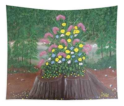 Bouquet On A Stump Tapestry