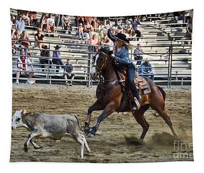Tapestry featuring the photograph Bovine Cowgirl by Gary Keesler