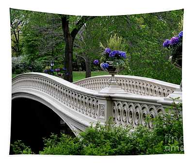 Bow Bridge Flower Pots - Central Park N Y C Tapestry