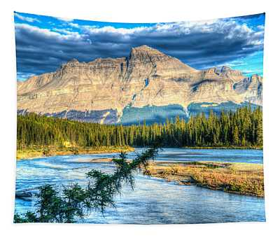 Bow River And Mt Loudon Tapestry