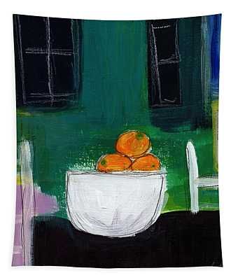 Bowl Of Oranges- Abstract Still Life Painting Tapestry