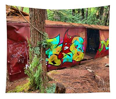 Box Car In The Woods - British Columbia Tapestry