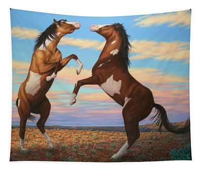 Boxing Horses Tapestry