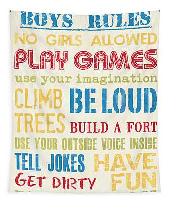 Boys Rules Tapestry