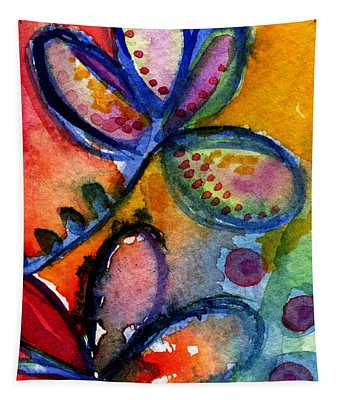 Bright Abstract Flowers Tapestry