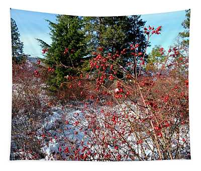 Bright Winter Rosehips Tapestry