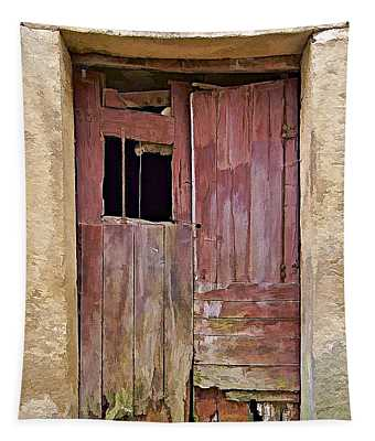 Broken Red Wood Door Tapestry