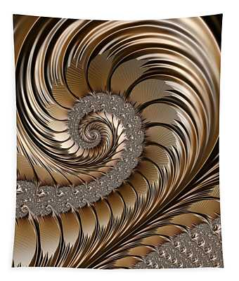 Bronze Scrolls Abstract Tapestry