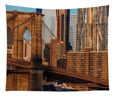 Brooklyn Bridge And Manhattan Skyline Tapestry